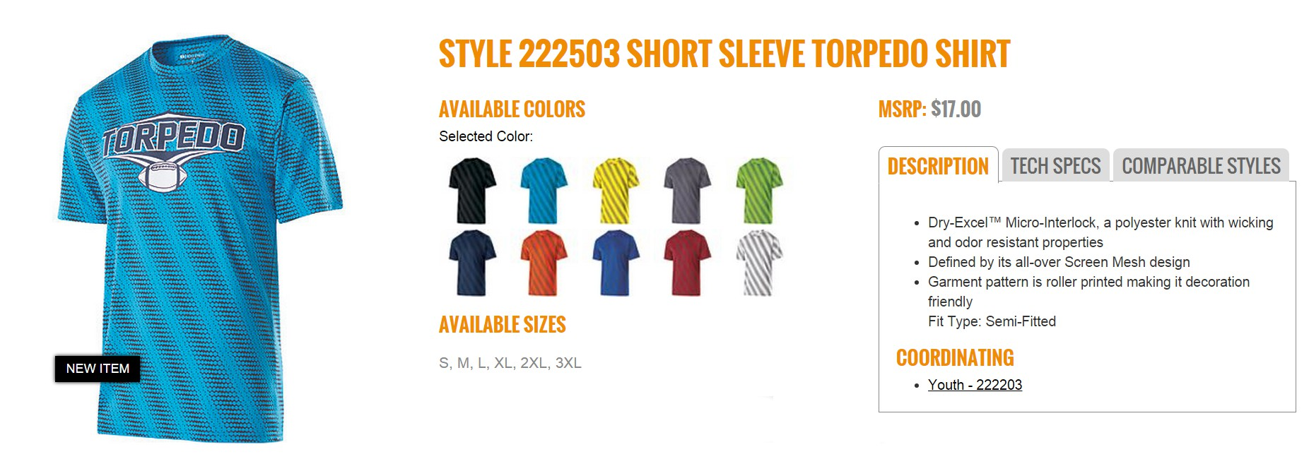 Group Fundraising Store Apparel Fundraising Holloway  Short Sleeve Torpedo Shirt 222503
