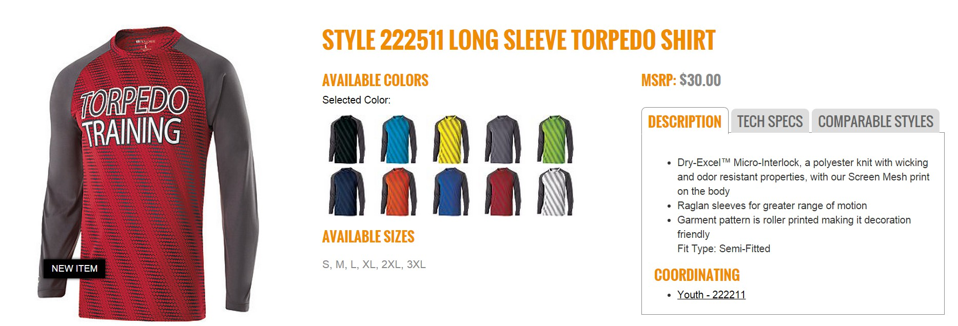Group Fundraising Store Apparel Fundraising Holloway  Long Sleeve Torpedo Shirt 222511