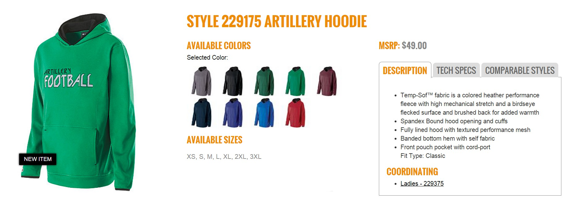 Group Fundraising Store Apparel Fundraising Holloway Artillery Hoodie 229175