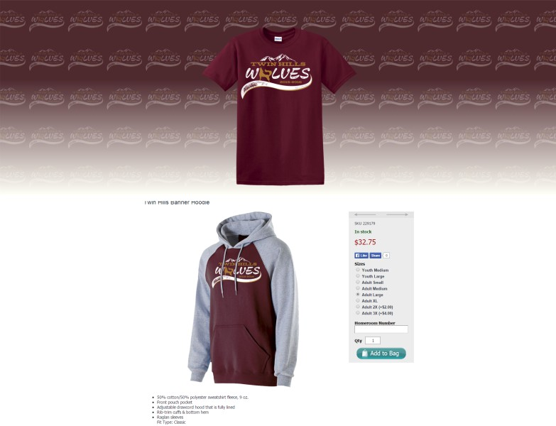 Apparel fundraising web store sample